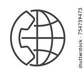 international call  thin line... | Shutterstock . vector #754739473