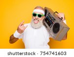 cheerful excited aged funny... | Shutterstock . vector #754741603