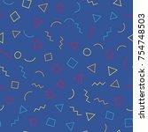memphis seamless pattern 80's...   Shutterstock .eps vector #754748503