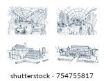 bundle of freehand drawings of... | Shutterstock .eps vector #754755817