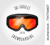 snowboard or ski goggles with... | Shutterstock .eps vector #754756807