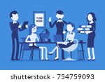 team work in office. combined... | Shutterstock .eps vector #754759093