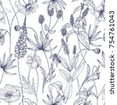 hand drawn monochrome floral... | Shutterstock .eps vector #754761043