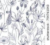 Hand Drawn Monochrome Floral...