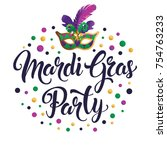 mardi gras mask  colorful... | Shutterstock .eps vector #754763233