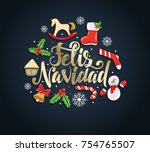 merry christmas 2018 vector... | Shutterstock .eps vector #754765507