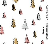 set christmas tree in line art  ... | Shutterstock .eps vector #754768297