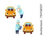 vector flat doctor mechanic and ... | Shutterstock .eps vector #754768537
