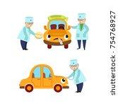 vector flat doctor mechanic and ... | Shutterstock .eps vector #754768927