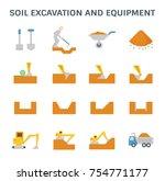 soil excavation and equipment... | Shutterstock .eps vector #754771177