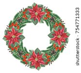 christmas wreath with... | Shutterstock . vector #754771333