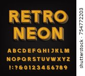 retro sign alphabet. 3d vintage ... | Shutterstock .eps vector #754772203