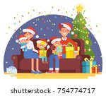 happy family celebrate merry... | Shutterstock .eps vector #754774717