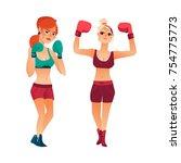 two pretty young boxer women