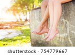 feet of lovers. close up of... | Shutterstock . vector #754779667