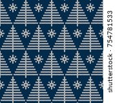 winter holiday seamless knitted ... | Shutterstock .eps vector #754781533