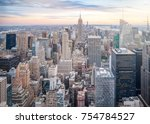 aerial view of manhattan... | Shutterstock . vector #754784527