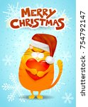 christmas card with cat  santa...   Shutterstock .eps vector #754792147
