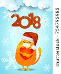 new year background with cat ...   Shutterstock .eps vector #754793983