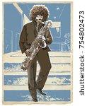 saxophonist. vector...   Shutterstock .eps vector #754802473