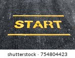 start word on asphalt road | Shutterstock . vector #754804423