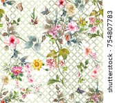 Stock photo watercolor painting of leaf and flowers seamless pattern on white background 754807783