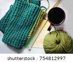knitting background  hobby or a ... | Shutterstock . vector #754812997
