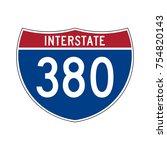 interstate highway 380 road sign | Shutterstock .eps vector #754820143