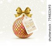 ornate christmas ball with... | Shutterstock .eps vector #754822693