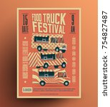 food truck street food festival ... | Shutterstock .eps vector #754827487