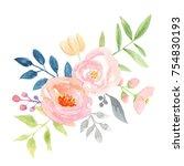 watercolor flower bouquet pink... | Shutterstock . vector #754830193