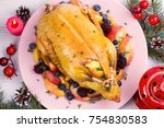 christmas duck with apples ... | Shutterstock . vector #754830583