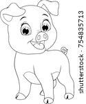 vector illustration  funny... | Shutterstock .eps vector #754835713