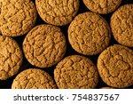 pattern of oatmeal cookies...   Shutterstock . vector #754837567