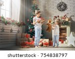 merry christmas and happy... | Shutterstock . vector #754838797