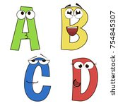 funny alphabet with cute... | Shutterstock .eps vector #754845307