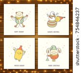 set of christmas greeting cards ...   Shutterstock .eps vector #754846237