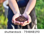 male holding soil in two hand | Shutterstock . vector #754848193