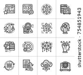 linear icon set of data science ... | Shutterstock .eps vector #754851943