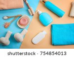 composition with towels and... | Shutterstock . vector #754854013