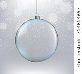 xmas ball on silver background | Shutterstock . vector #754854697