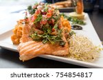grilled salmon with fresh... | Shutterstock . vector #754854817