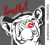 french bulldog. vector...   Shutterstock .eps vector #754865353