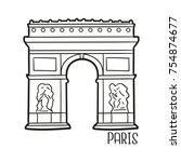 arch of triumph paris france... | Shutterstock .eps vector #754874677