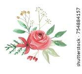 watercolor christmas bouquet... | Shutterstock . vector #754884157