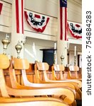 Small photo of Interiors of Illinois House of Representative chamber, with seats and example of the Abraham Lincoln's cylinder hat. Abraham Lincoln's Old State Capitol - Springfield, Illinois, USA. September 2009