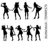 set of vector silhouettes of... | Shutterstock .eps vector #754889173