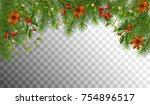 christmas vector spruce border. ... | Shutterstock .eps vector #754896517