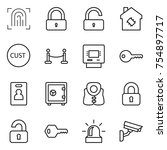 thin line icon set  ... | Shutterstock .eps vector #754897717