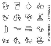 thin line icon set   cleanser ... | Shutterstock .eps vector #754900213